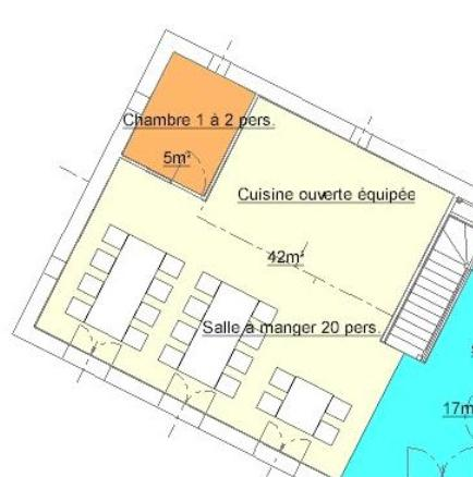 Plan salle a manger du Gite de Groupe du Buron de Besse