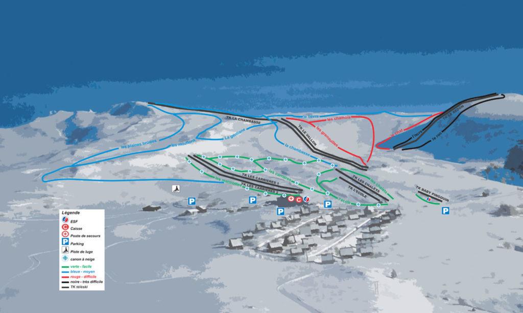 plan des pistes ski de descente super besse le mont dore buron. Black Bedroom Furniture Sets. Home Design Ideas